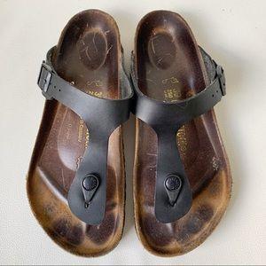 Birkenstock Gizeh Black Leather Buckle Sandals